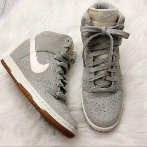 Women's Nike Dunk Sky High Wedges Gray White Sz 7